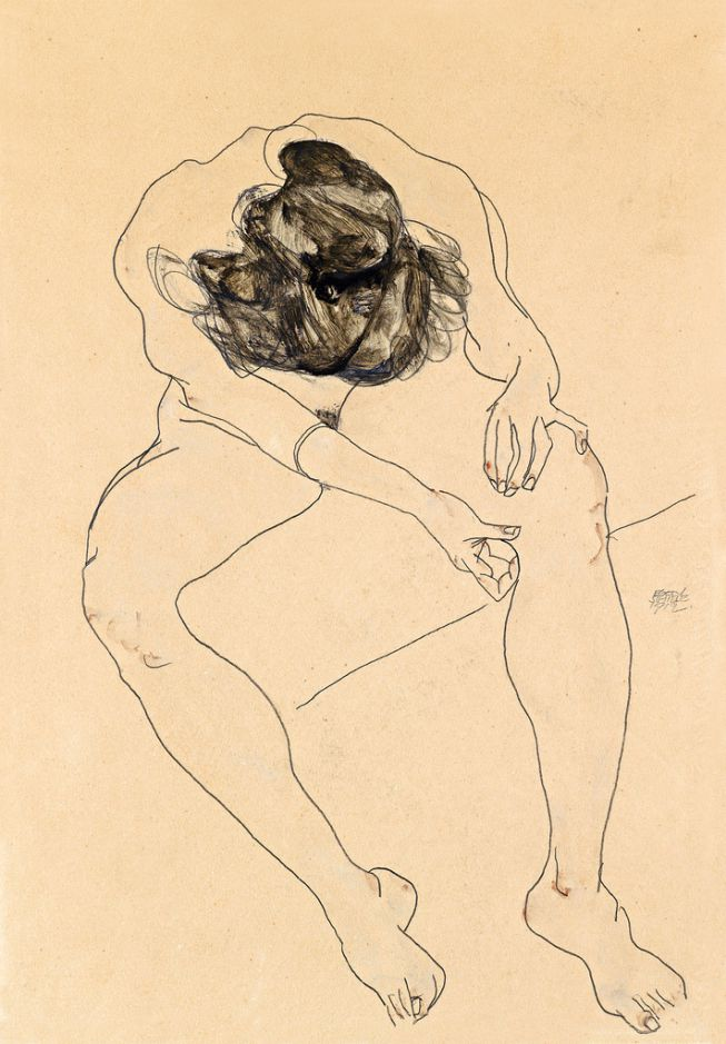 seated female nude Egon Schiele